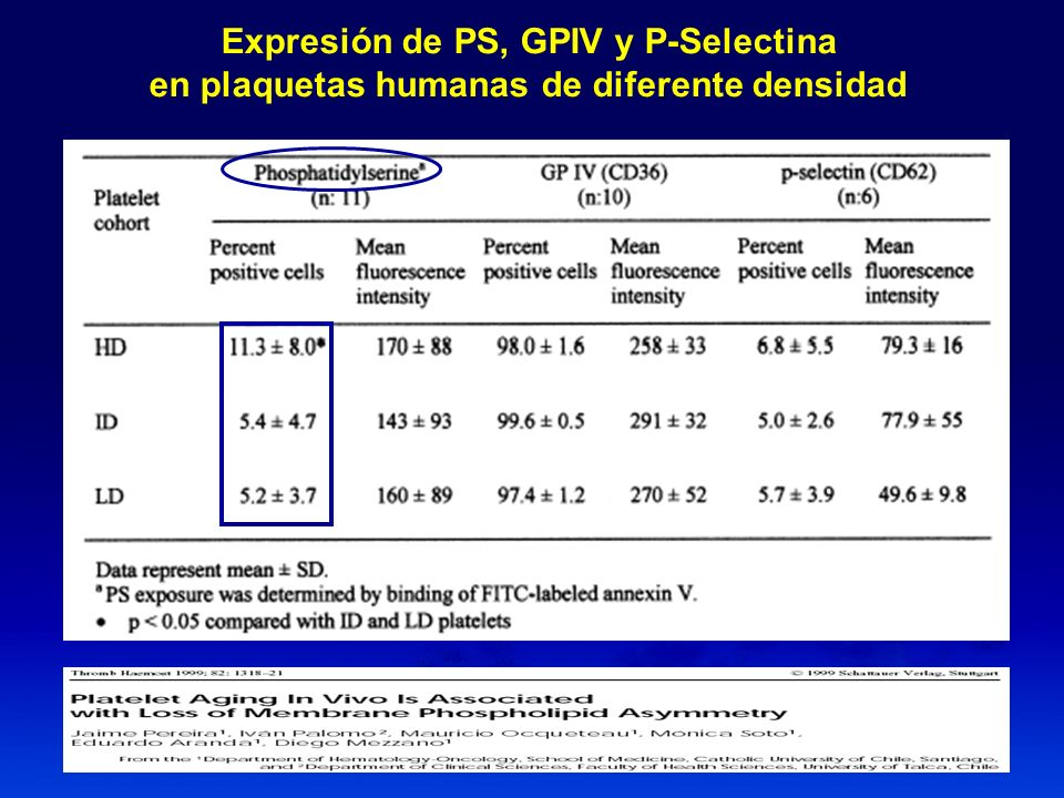 Expresión de PS, GPIV y P-Selectina