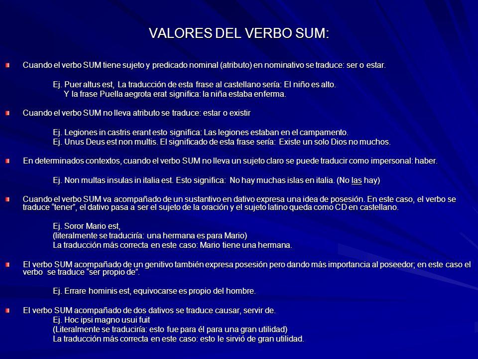 VALORES DEL VERBO SUM: Cuando el verbo SUM tiene sujeto y predicado nominal (atributo) en nominativo se traduce: ser o estar.