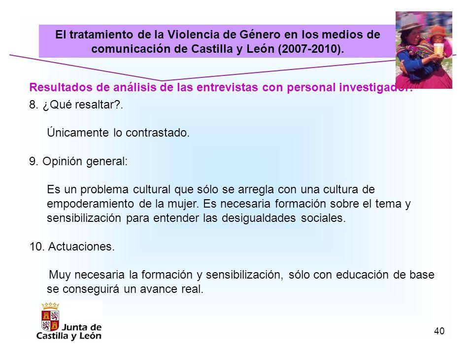 El tratamiento de la Violencia de Género en los medios de comunicación de Castilla y León (2007-2010).