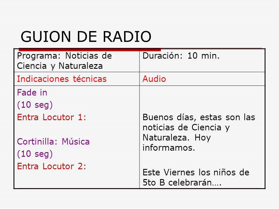 GUION DE RADIO Programa: Noticias de Ciencia y Naturaleza