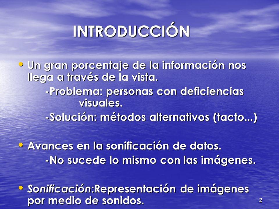 INTRODUCCIÓN Un gran porcentaje de la información nos llega a través de la vista. -Problema: personas con deficiencias visuales.