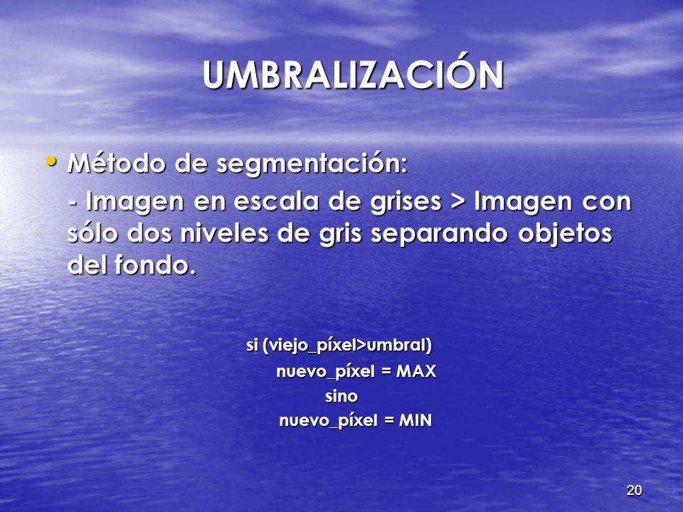 UMBRALIZACIÓN Método de segmentación:
