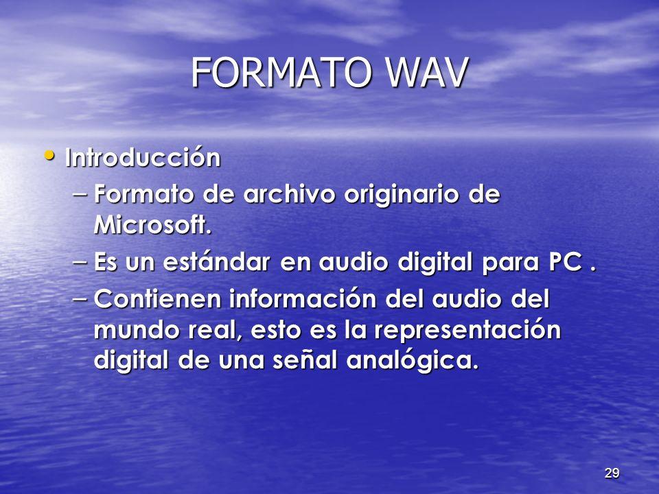 FORMATO WAV Introducción Formato de archivo originario de Microsoft.