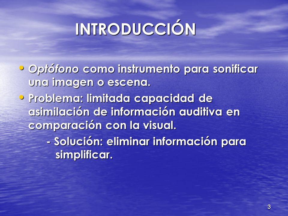 INTRODUCCIÓN Optófono como instrumento para sonificar una imagen o escena.