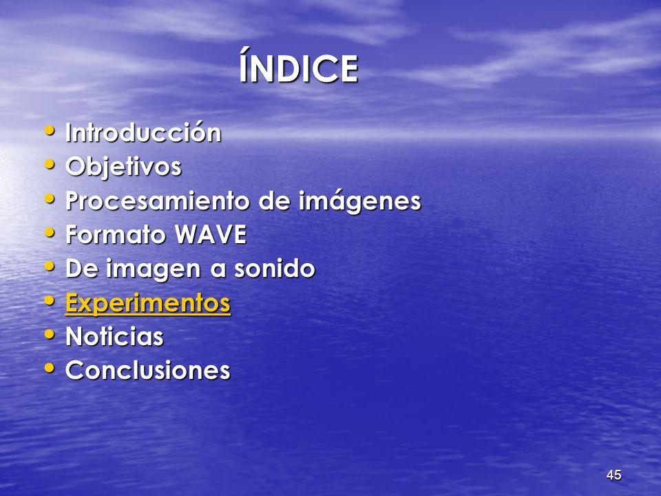 ÍNDICE Introducción Objetivos Procesamiento de imágenes Formato WAVE