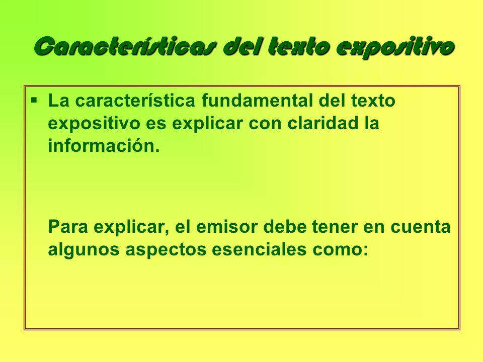 Características del texto expositivo