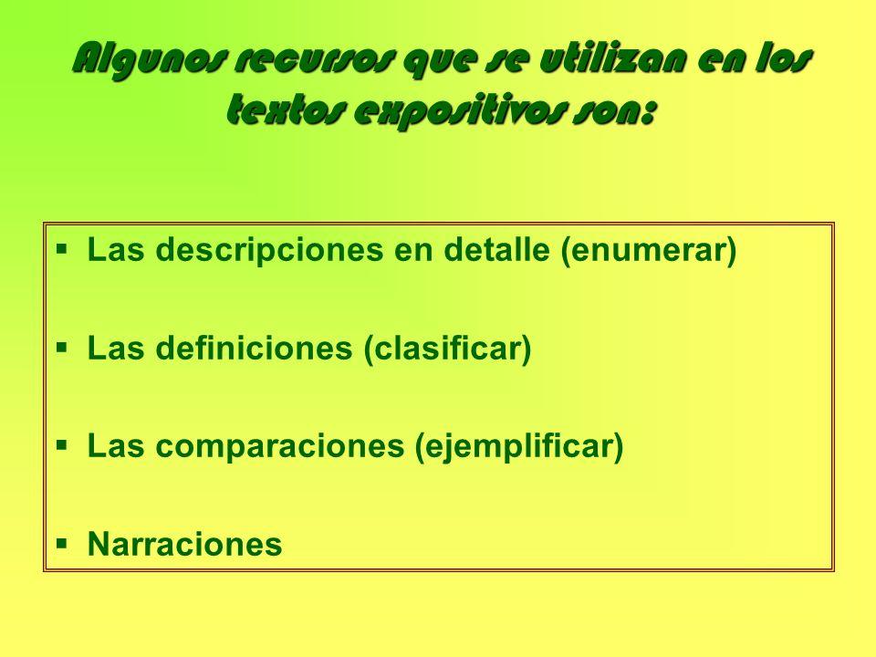 Algunos recursos que se utilizan en los textos expositivos son: