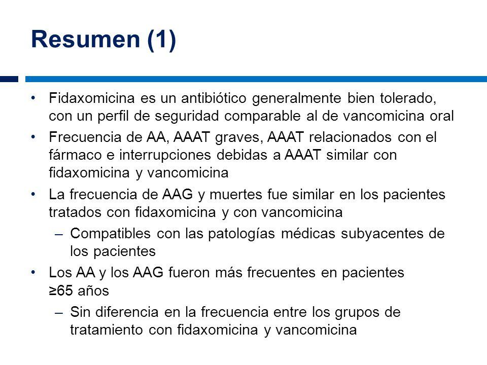 Resumen (1) Fidaxomicina es un antibiótico generalmente bien tolerado, con un perfil de seguridad comparable al de vancomicina oral.