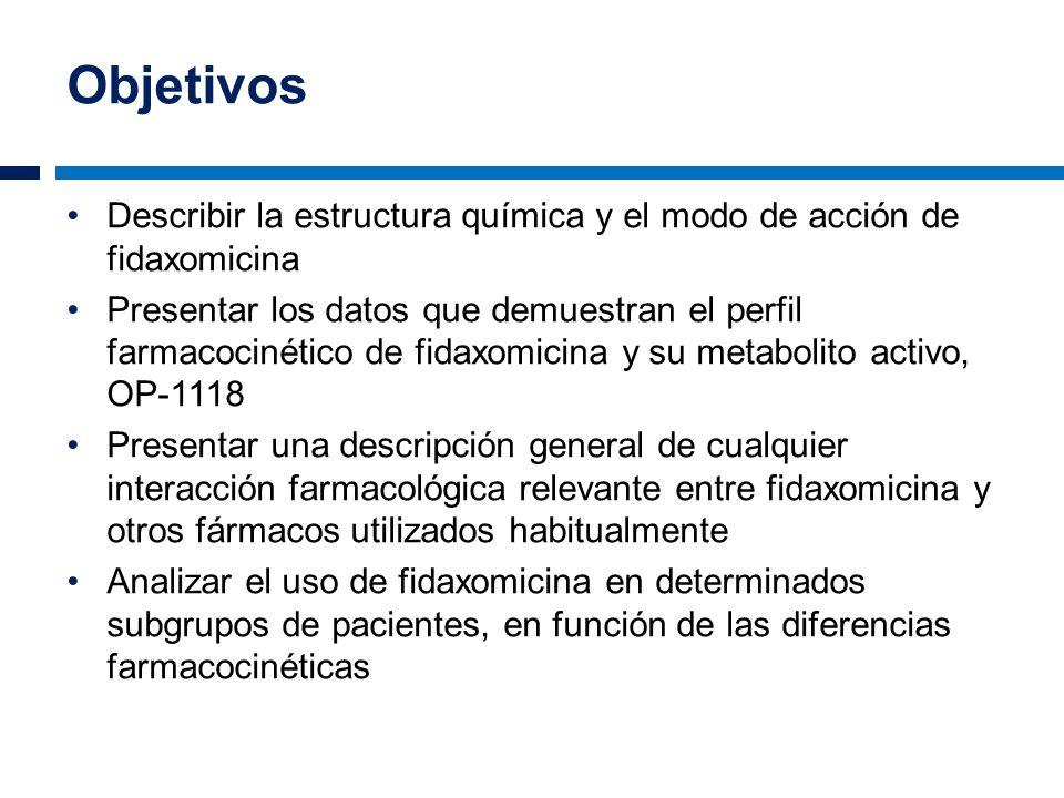 Objetivos Describir la estructura química y el modo de acción de fidaxomicina.