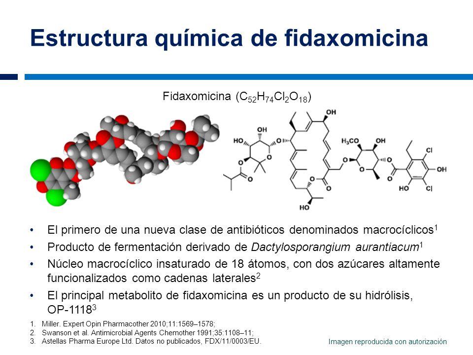 Estructura química de fidaxomicina