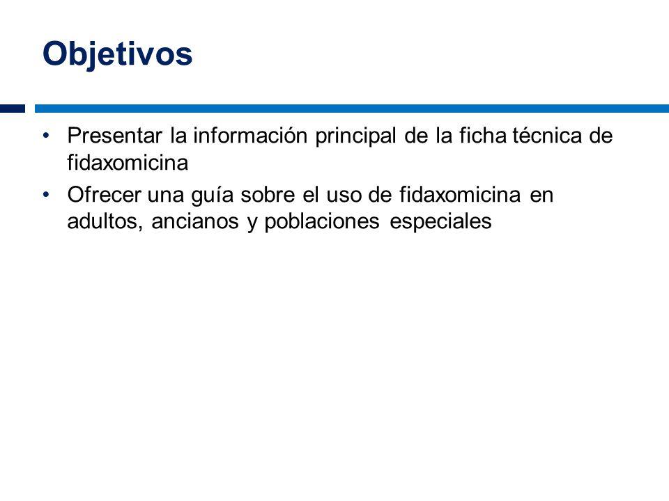 Objetivos Presentar la información principal de la ficha técnica de fidaxomicina.