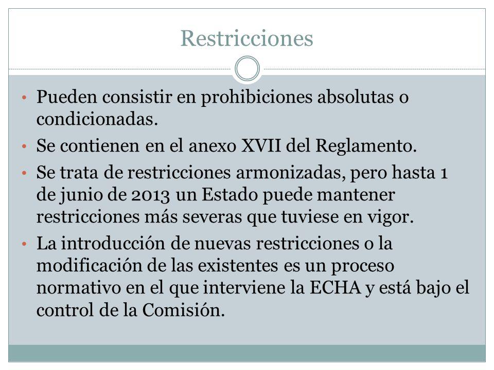 Restricciones Pueden consistir en prohibiciones absolutas o condicionadas. Se contienen en el anexo XVII del Reglamento.