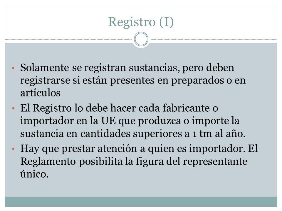 Registro (I) Solamente se registran sustancias, pero deben registrarse si están presentes en preparados o en artículos.