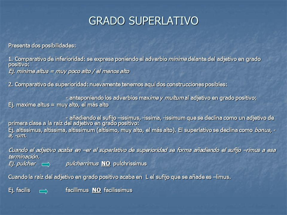 GRADO SUPERLATIVO Presenta dos posibilidades:
