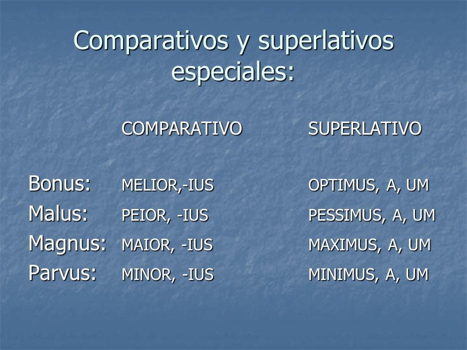 Comparativos y superlativos especiales: