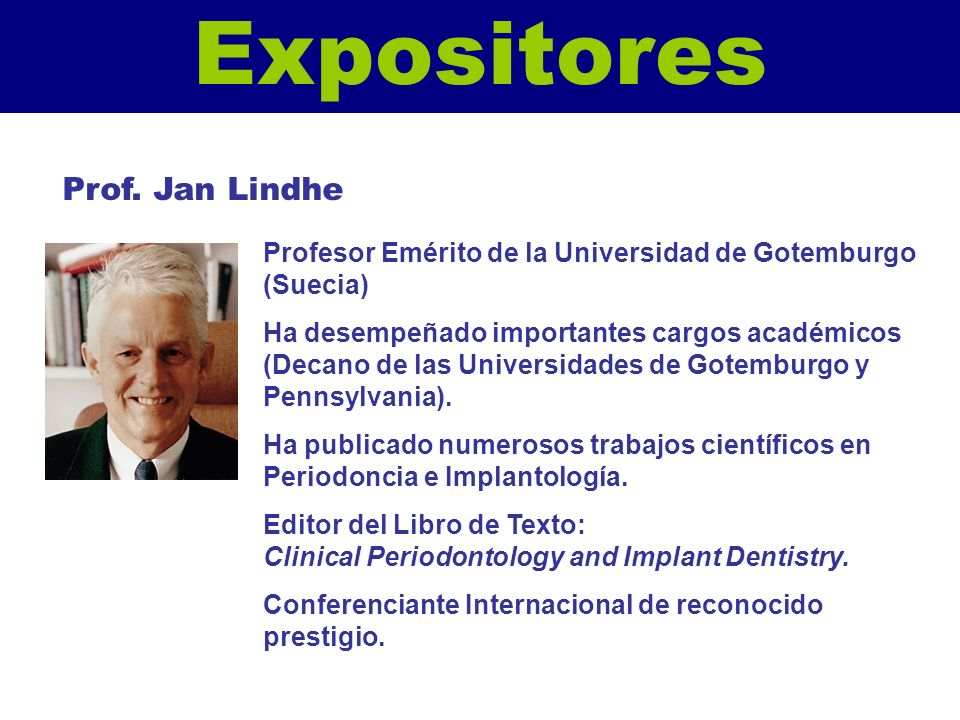 Expositores Prof. Jan Lindhe