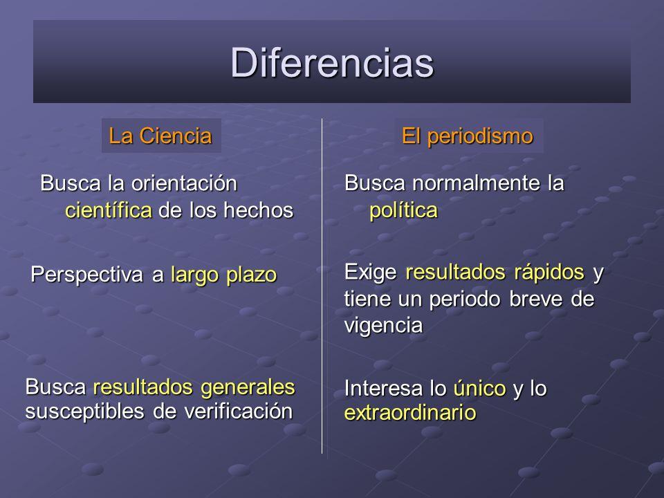 Diferencias La Ciencia El periodismo