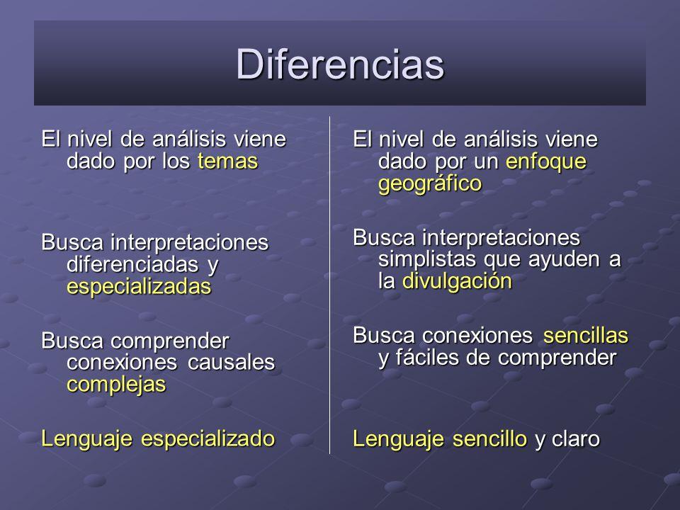 Diferencias El nivel de análisis viene dado por los temas