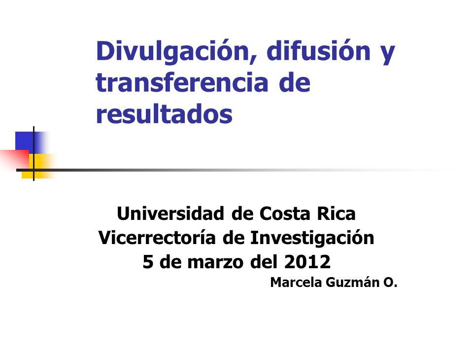 Divulgación, difusión y transferencia de resultados