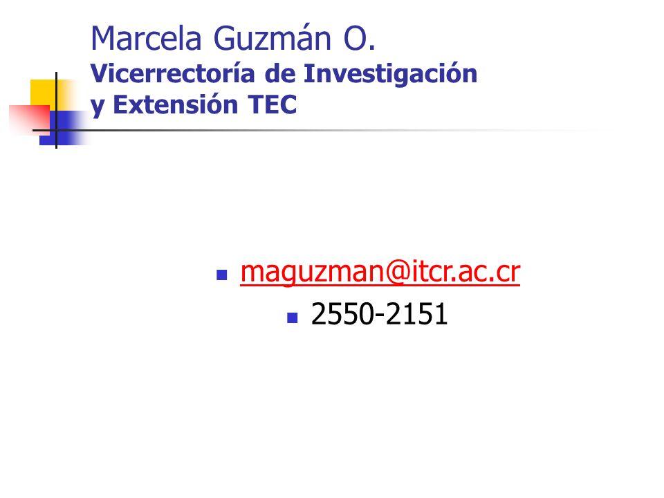 Marcela Guzmán O. Vicerrectoría de Investigación y Extensión TEC