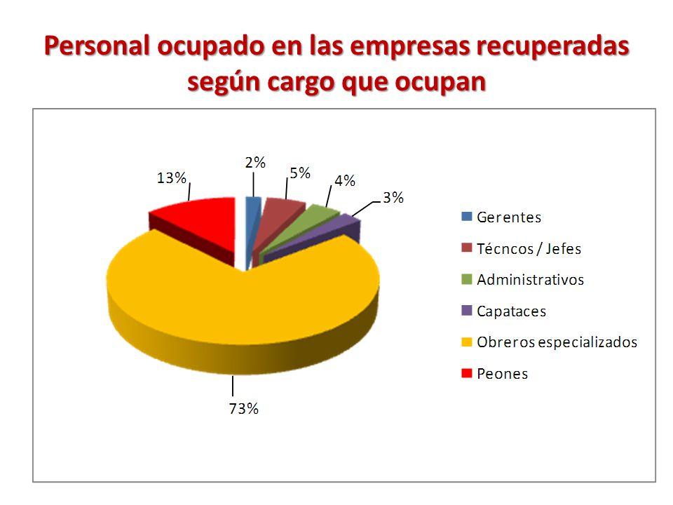 Personal ocupado en las empresas recuperadas según cargo que ocupan