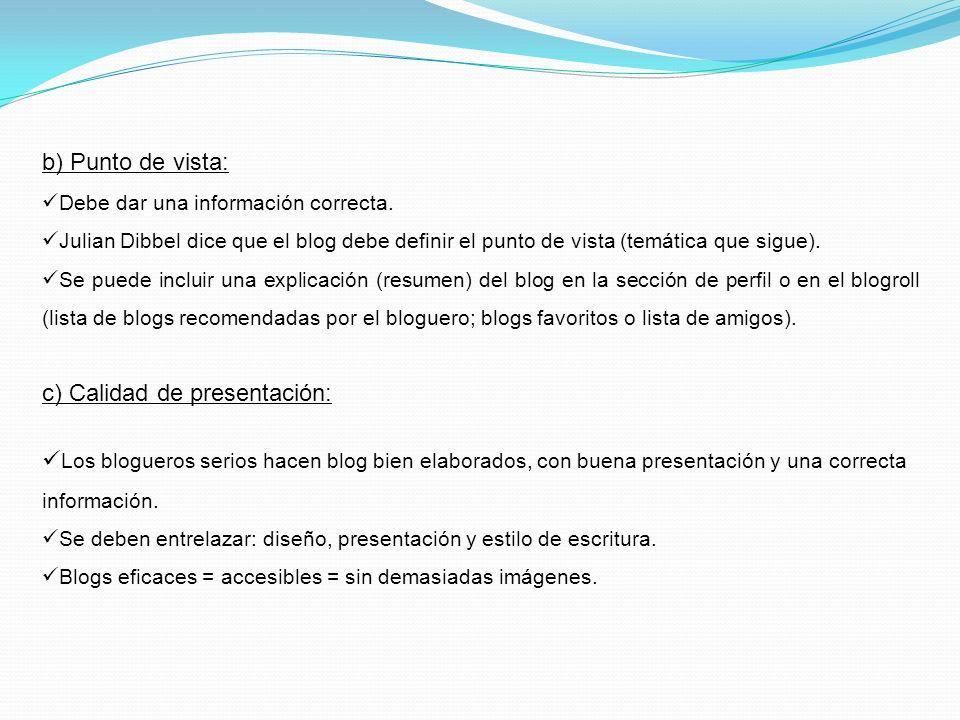 c) Calidad de presentación: