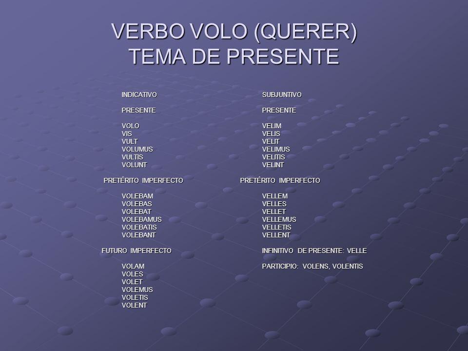 VERBO VOLO (QUERER) TEMA DE PRESENTE