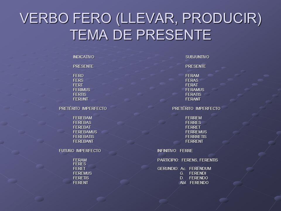 VERBO FERO (LLEVAR, PRODUCIR) TEMA DE PRESENTE