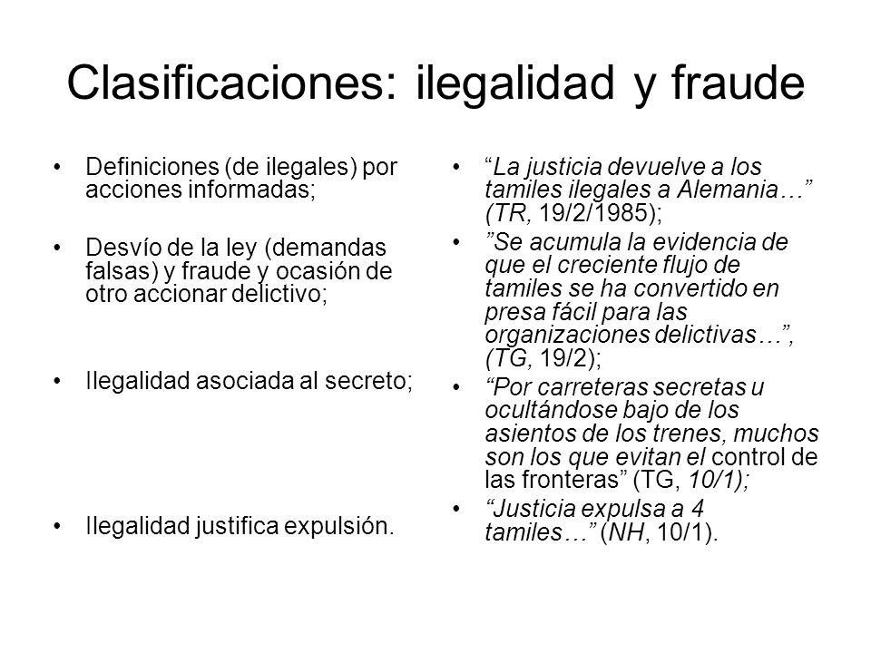 Clasificaciones: ilegalidad y fraude
