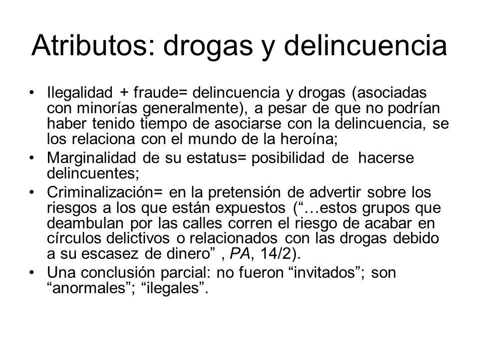 Atributos: drogas y delincuencia