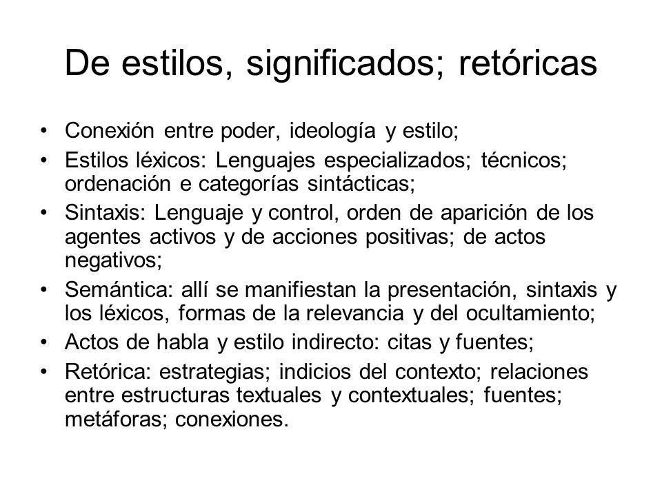 De estilos, significados; retóricas