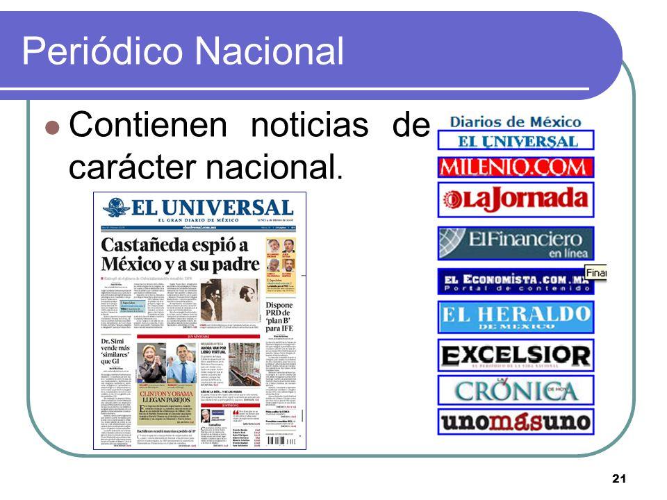 Periódico Nacional Contienen noticias de carácter nacional.