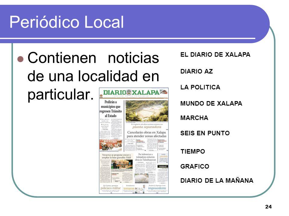 Periódico Local Contienen noticias de una localidad en particular.