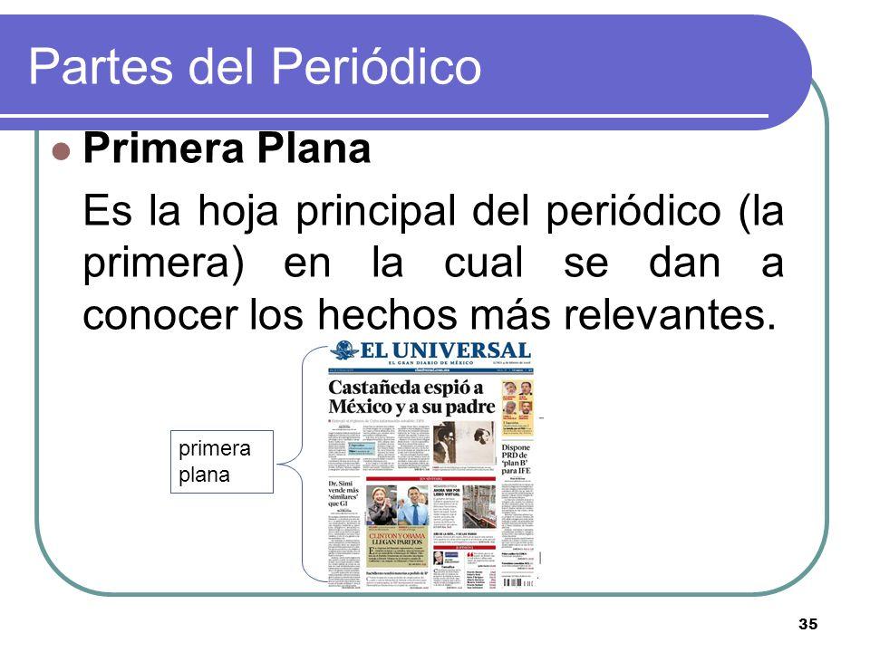 Partes del Periódico Primera Plana
