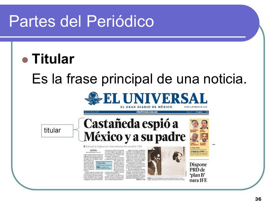 Partes del Periódico Titular Es la frase principal de una noticia.