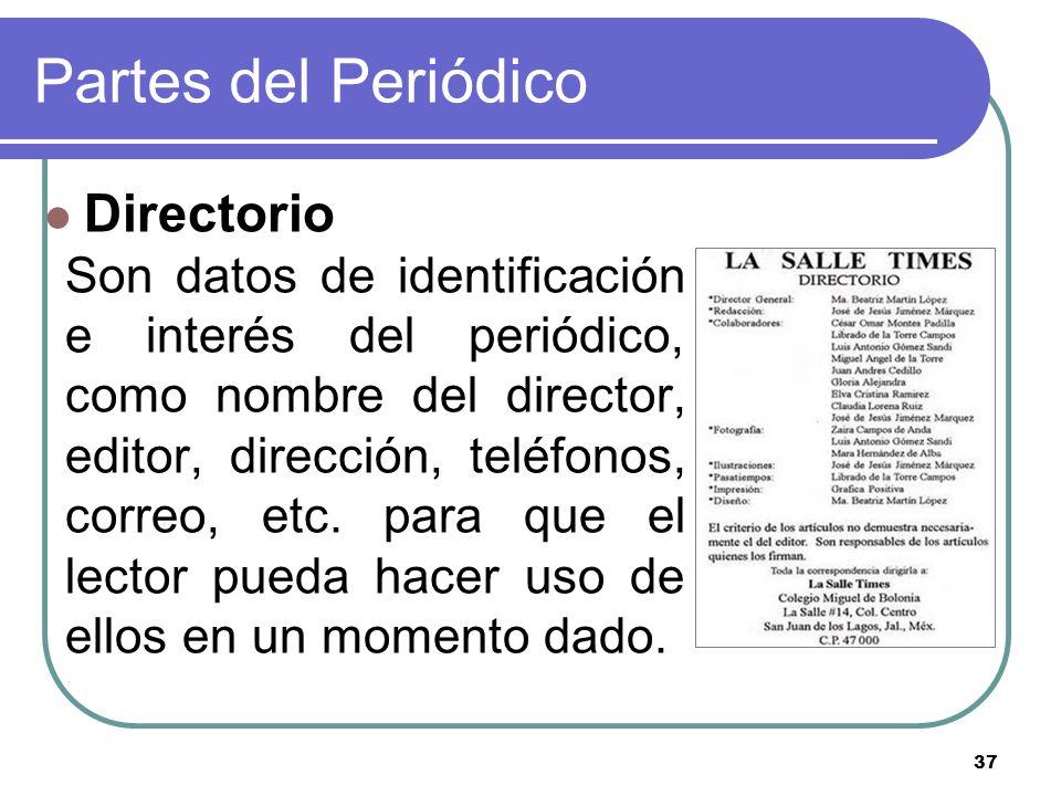 Partes del Periódico Directorio