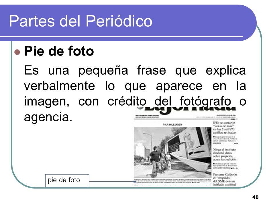 Partes del Periódico Pie de foto