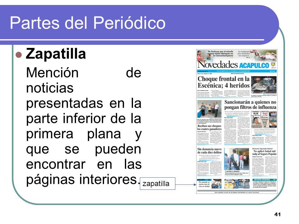 Partes del Periódico Zapatilla