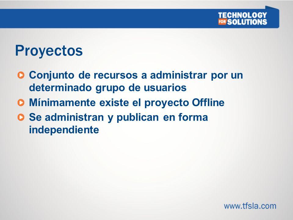 1212 Proyectos. Conjunto de recursos a administrar por un determinado grupo de usuarios. Mínimamente existe el proyecto Offline.