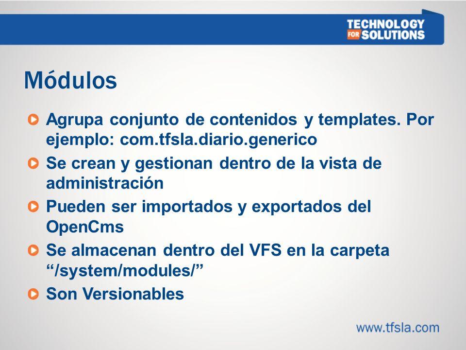 2121 Módulos. Agrupa conjunto de contenidos y templates. Por ejemplo: com.tfsla.diario.generico.