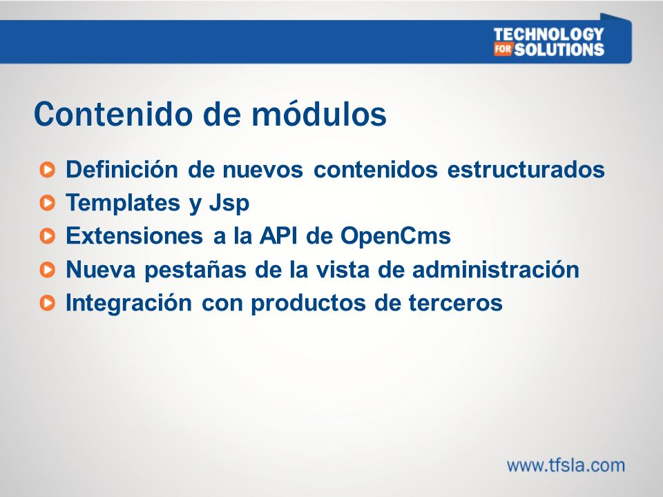 Contenido de módulos Definición de nuevos contenidos estructurados
