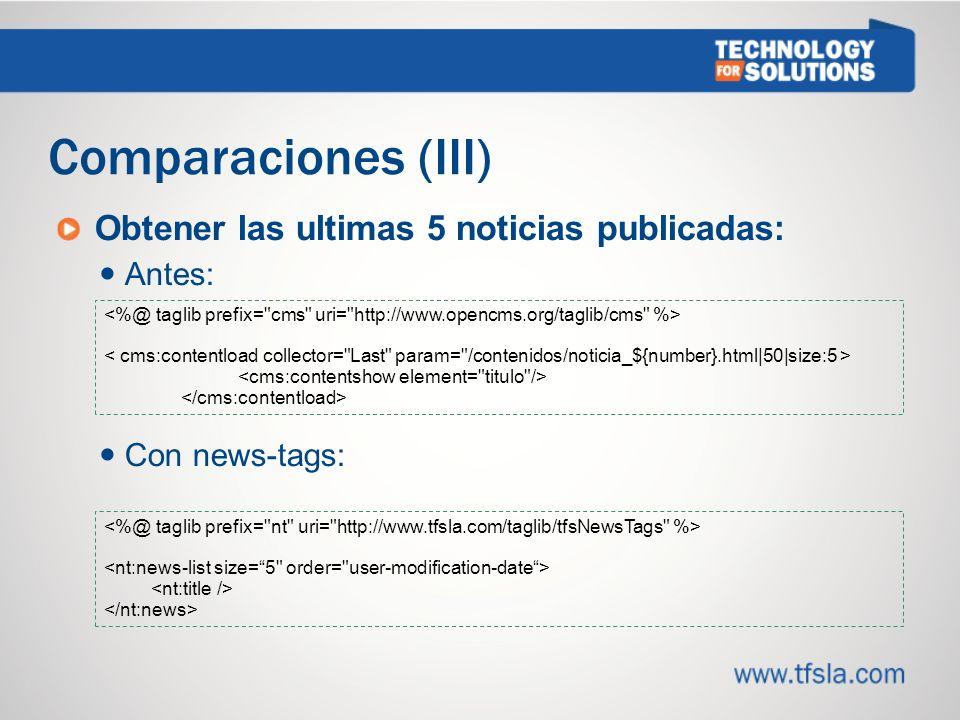 Comparaciones (III) Obtener las ultimas 5 noticias publicadas: Antes: