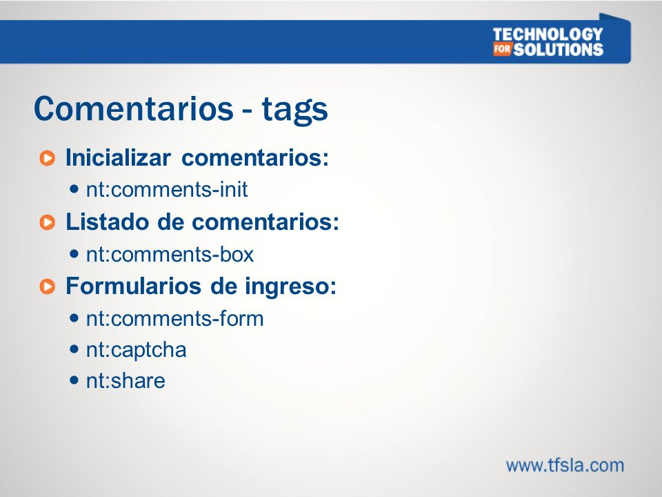 Comentarios - tags Inicializar comentarios: Listado de comentarios: