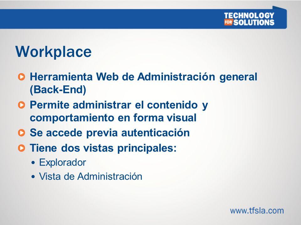 Workplace Herramienta Web de Administración general (Back-End)