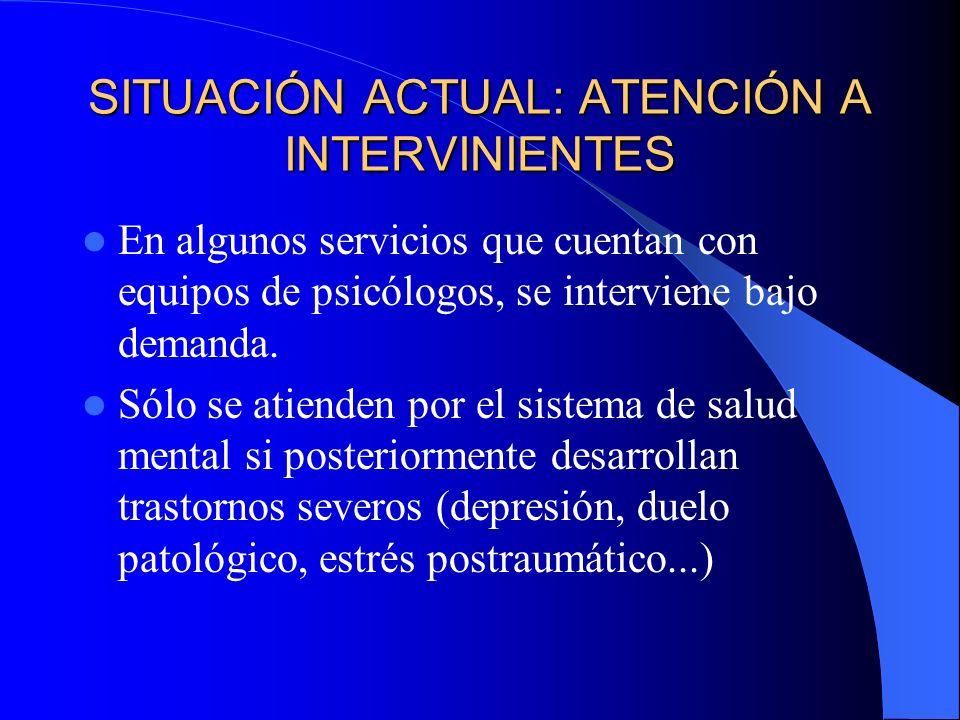 SITUACIÓN ACTUAL: ATENCIÓN A INTERVINIENTES