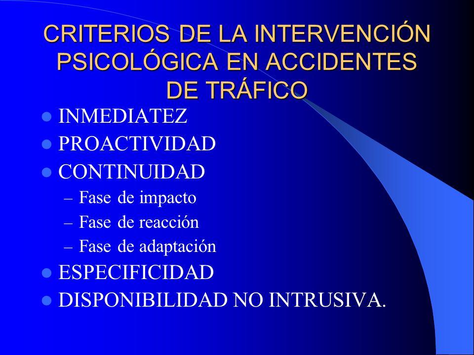 CRITERIOS DE LA INTERVENCIÓN PSICOLÓGICA EN ACCIDENTES DE TRÁFICO
