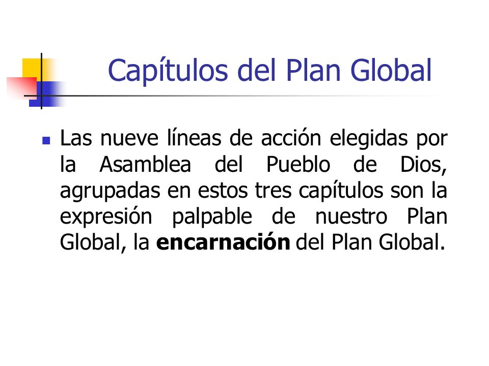 Capítulos del Plan Global