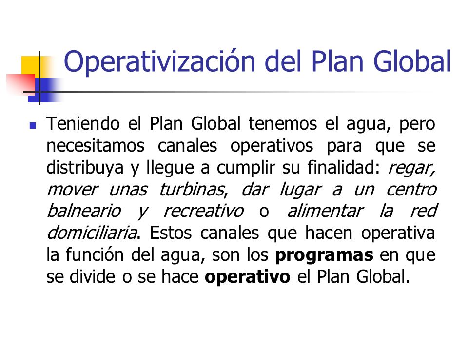 Operativización del Plan Global