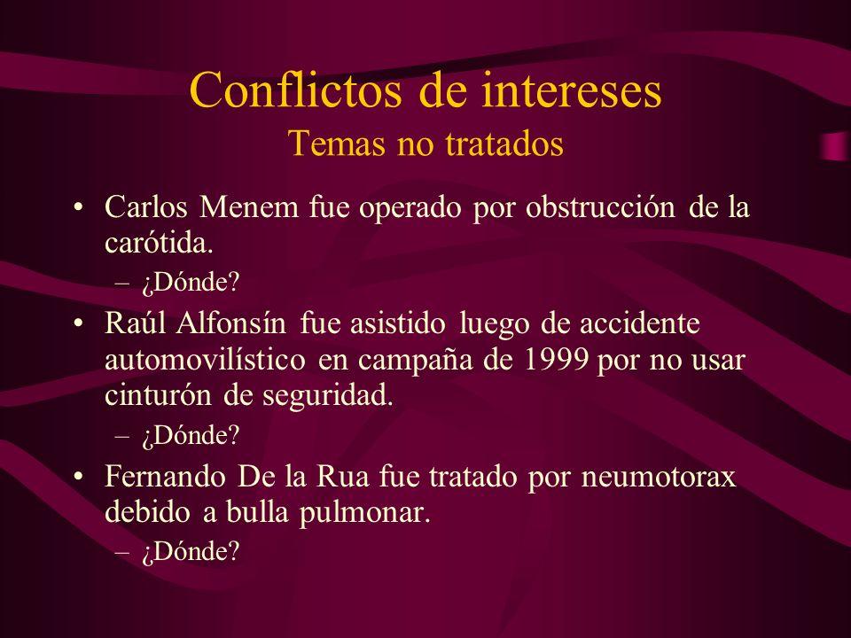 Conflictos de intereses Temas no tratados