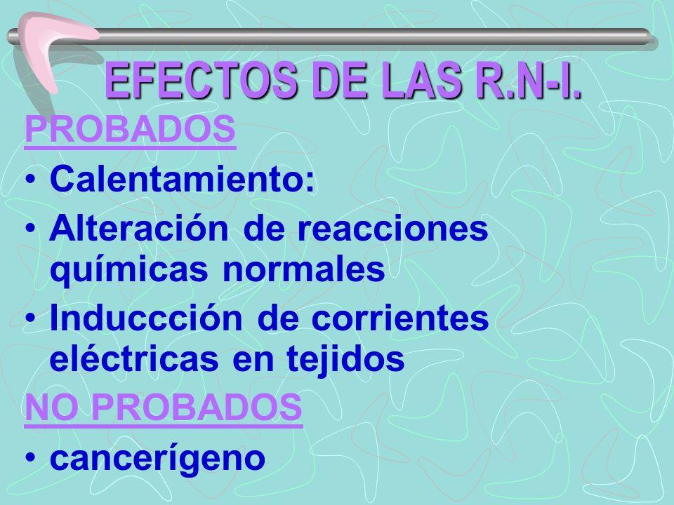 EFECTOS DE LAS R.N-I. PROBADOS Calentamiento: